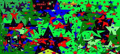 Digital Art - Merry Christmas Colorful Starry, Starry 2 by Linda Velasquez