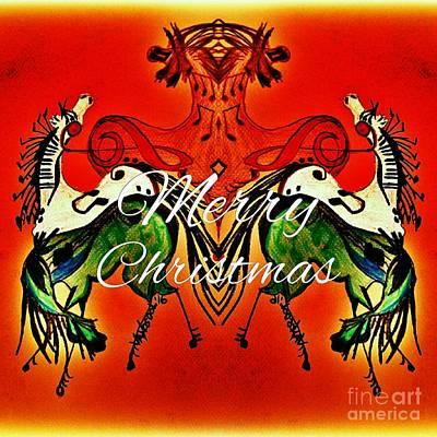 Disco Drawing - Merry Christmas Dancing Musical Horses by Scott D Van Osdol