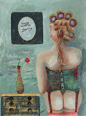 Mixed Media - Merry Christmas Darling by Donna Blackhall
