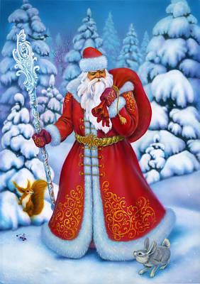 Christmas Squirrel Wall Art - Painting - Merry Christmas by Eldar Zakirov