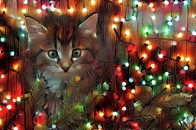 Photograph - Merry Christmas From Kitty by Lilia D