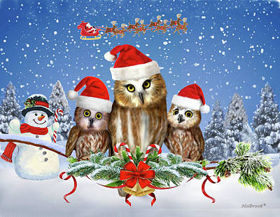Digital Art - Merry Christmas From Owl Of Us by Glenn Holbrook
