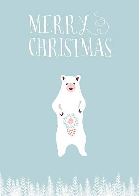 Merry Christmas Sketchy Bear Art Print