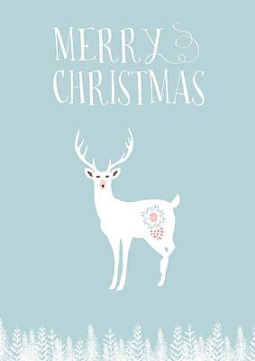 Merry Christmas Sketchy Stag Art Print