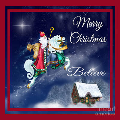 Believe Digital Art - Merry Christmas-jp3123-sq by Jean Plout