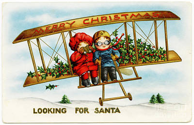 Painting - Merry Christmas Looking For Santa In Biplane Vintage by R Muirhead Art