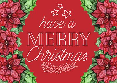 Digital Art - Merry Christmas Poinsettias by Teresa Wilson