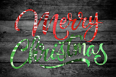 Mixed Media - Merry Christmas Recycled Vintage License Plate Art Green And Red Wording by Design Turnpike