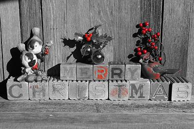 Photograph - Merry Christmas Red Only by Steven Clipperton