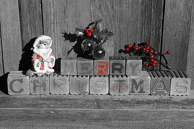 Photograph - Merry Christmas Red Only W/ Cat by Steven Clipperton