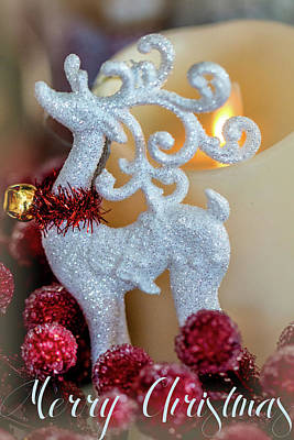 Photograph - Merry Christmas Reindeer Candle by Deb Buchanan