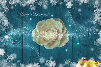 Photograph - Merry Christmas Rose On Wood by Johanna Hurmerinta