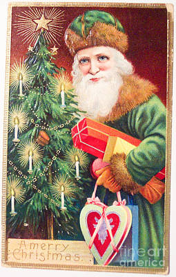 Painting - Merry Christmas Santa Delivers Gifts Vintage Card by R Muirhead Art
