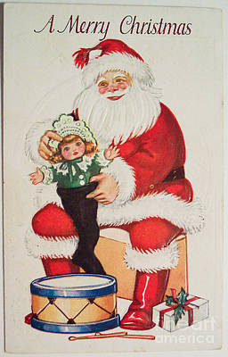 Painting - Merry Christmas Santa Pulls Doll From His Sack Vintage Card by R Muirhead Art