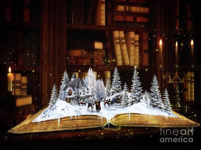 Fantasy Mixed Media - Merry Christmas Scene by Shanina Conway