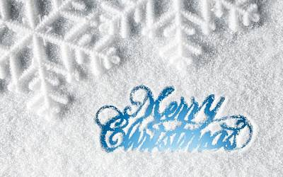 Merry Christmas Snow Art Print by F S