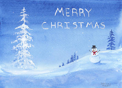 Painting - Merry Christmas Snowman by Darice Machel McGuire