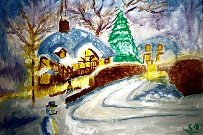 Painting - Merry Christmas by Stanley Morganstein