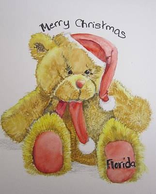 Merry Christmas Teddy  Art Print