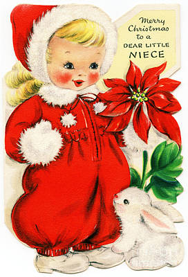 Painting - Merry Christmas To A Dear Little Niece Vintage by R Muirhead Art