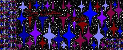 Merry Christmas To All, Starry, Starry Night Art Print by Linda Velasquez