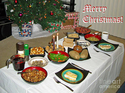 Photograph - Merry Christmas- Traditional Lithuanian Christmas Eve Dinner by Ausra Huntington nee Paulauskaite