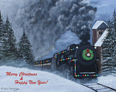 Painting - Merry Christmas Train by Melissa Toppenberg