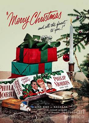 Drawing - Merry Christmas Vintage Cigarette Advert by R Muirhead Art