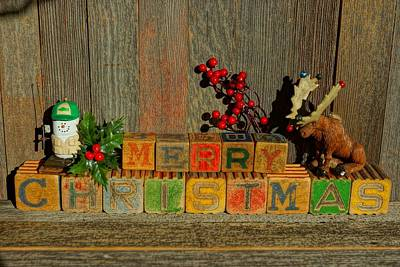 Photograph - Merry Christmas W/moose And Snowman Fishing by Steven Clipperton