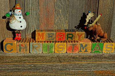 Photograph - Merry Christmas W/snowman And Moose by Steven Clipperton