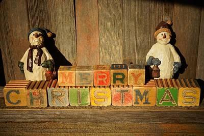 Photograph - Merry Christmas W/snowmen by Steven Clipperton