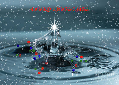 Photograph - Merry Christmas Water Drop by Steve Purnell