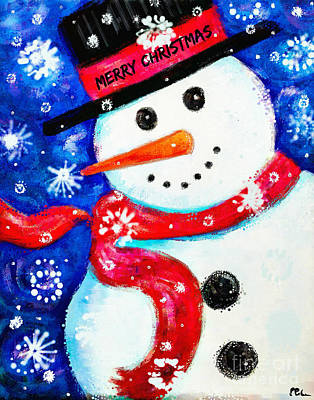Painting - Merry Christmas Winter Snowman by Tina LeCour