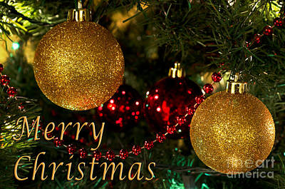 Merry Christmas With Gold Ball Ornaments Art Print by Maria Janicki