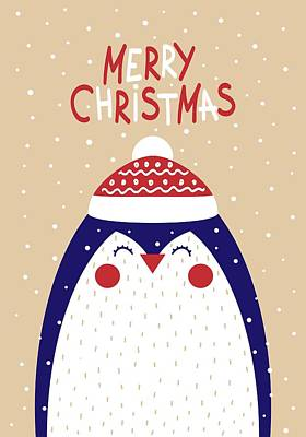 Digital Art - Merry Christmas With Penguin by Christopher Meade