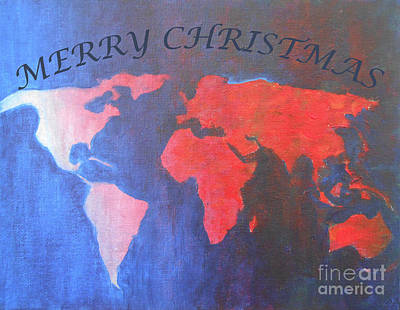 Mixed Media - Merry Christmas World by Jane See