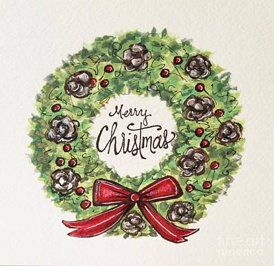 Wine Country Card Painting - Merry Christmas Wreath by Elizabeth Robinette Tyndall
