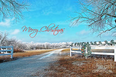 Photograph - Merry Christmas Wreath On Frosty Day by David Arment