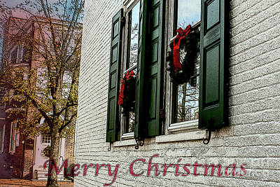 Photograph - Merry Christmas Wreaths In West Chester by Sandy Moulder