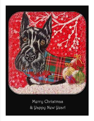 Scottish Dog Mixed Media - Merry Christmas Yappy New Year  by Janet Chwieseni