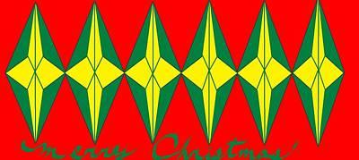 Digital Art - Merry Christmas Yellow Stars by Linda Velasquez