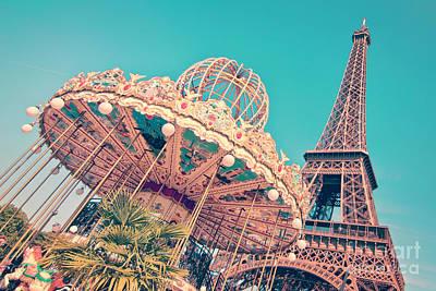 Eiffel Tower Photograph - Merry Go Paris by Delphimages Photo Creations