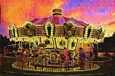 Amusement Ride Painting - Merry Go Round by Deborah MacQuarrie-Selib