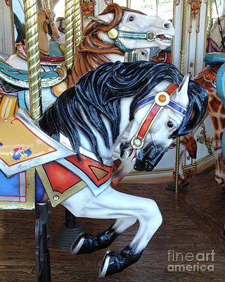 Photograph - Merry Go Round Horses - Carnival Festival Fair Prints Home Decor - Carousel Horses by Kathy Fornal