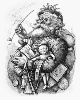 Santa Claus Drawing - Merry Old Santa Claus by Thomas Nast