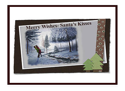 Painting - Merry Wishes - Santa's Kisses by Saeed Hojjati