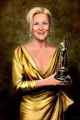Gold Lame Painting - Meryl Streep Winner by Jann Paxton