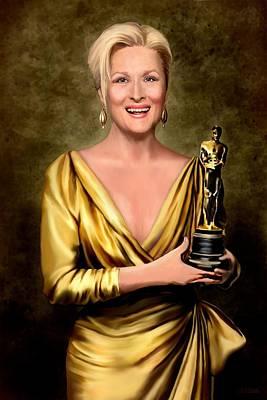 Meryl Streep Winner Art Print by Jann Paxton
