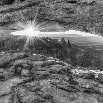 Photograph - Mesa Arch Canyon Canyonlands Sunrise - Square Format - Black And White by Gregory Ballos