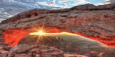 Photograph - Mesa Arch Morning Sunrise Panorama Landscape by Gregory Ballos